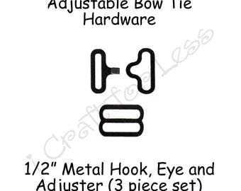 "200 Small Bow Tie Hardware Supplies Clips - 1/2"" Rounded Edge Slide Adjuster*, Hook and Eye - Black Metal - SEE COUPON"