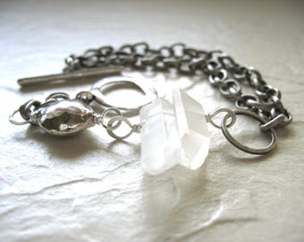 Quartz Crystal Point Bracelet, Quartz Crystal Stone Bracelet, Handmade Artisan Crystal Gemstone Jewelry