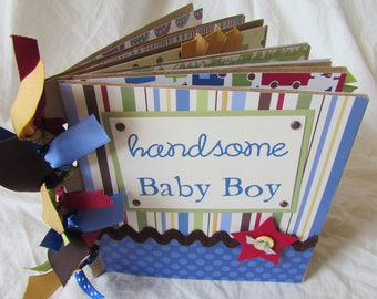 mini premade SCRAPBOOK album -- baby boy -- PaPeR BaG premade - shower gift, new baby, baby book, first year, snips and snails, newborn