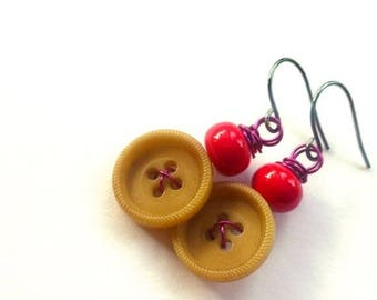 Christmas in July Sale Tan Button Earrings with Pink