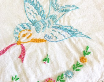 A Little Birdie Told Me... Vintage Embroidered Birds Wedding Bells Pillowcases Pillow Case Matching Pair Bed Linens Handmade Wedding Present
