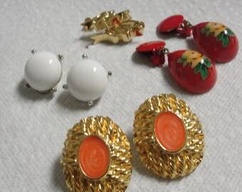 Four Pair of Clip Earrings