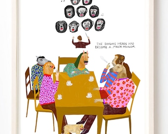 Art, Humor, Sing, Writing, Poster, Quirky, Horse, Books, Colorful, The Singing Heads Had Become a Major Problem- Fine Art Print