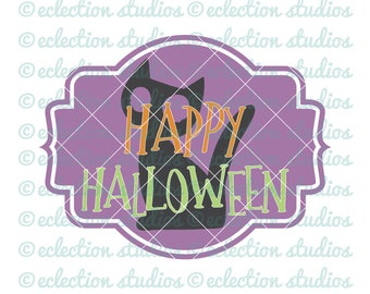 Halloween SVG, fall svg, Happy Halloween ,black cat sign, Cat svg, cute sign SVG, DXF, eps, jpg, and png file for silhouette or cricut