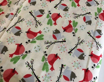 Jingle Birds fabric, Christmas Fabric, Cotton fabric by the Yard, Birdhouse, Winter Quilt, Birds in White- Choose the cut