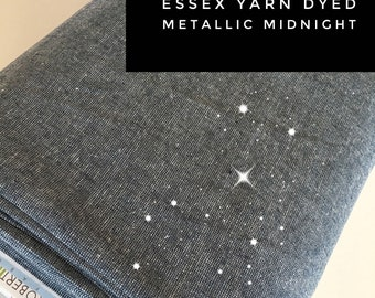 Wedding Decor, Linen Blend, Cotton Linen, Metallic fabric, Silver Sparkle Fabric, Essex Linen, Apparel, Metallic Essex in Midnight