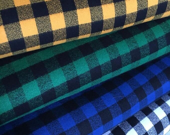 FLANNEL fabric, Mammoth Flannel Fabric Bundle of 4, Hipster fabric, Lumberjack, Red Black Plaid, Robert Kaufman- Choose the cuts