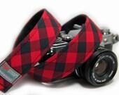 Buffalo Check Camera Strap -Red Buffalo Plaid