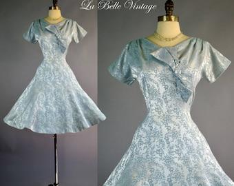 50s Blue Brocade Dress M L Vintage Satin Dress R K Originals