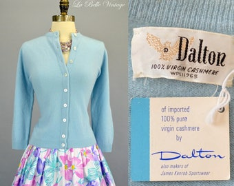 50s Dalton Blue Cashmere Cardigan Vintage Sweater Deadstock