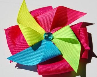 Neons Pinwheel Hair Clip Bow Summer Ribbon Sculpture