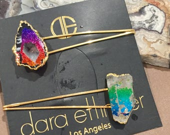Dara Ettinger 14kt gold plated natural quartz point and geode slice barrettes with rainbow dazzle finish, set of 2