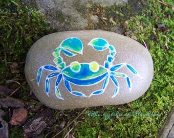 Blue Crab, Enamel, like Cloisonné, Folk Art,Original hand painted Beach Rock, crab, earth art, reclaimed, inked, stone, seafood, sushi