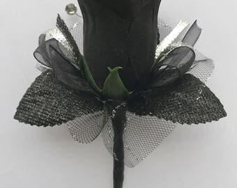 Black Silk Rose Boutonnière