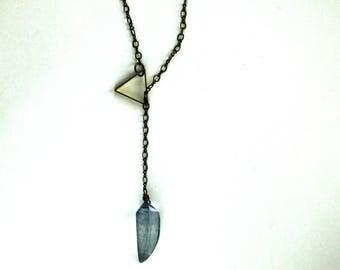 Antique Brass Modern Necklace / Minimalist Antique Steampunk Necklace / Geometric Mystic Blue Quartz Gemstone Necklace Antiqued Brass Chain