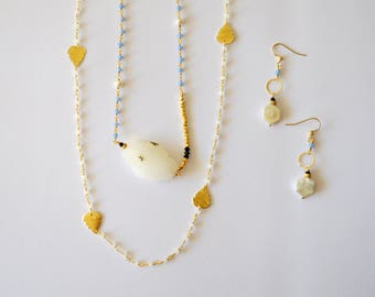 14k Gold Filled and Vermeil Gold Double Layering Necklace and Earring Set with Blue Lapis Quartz Gemstones Freshwater Pearls and Crystals
