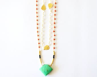 14k Gold Gemstone 2 Layer Necklace / 14k Gold Filled Vermeil Gold Double Layering Necklace Mint Green Brown Chrysophase and Coral Gemstones