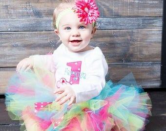 First Birthday Tutu Outfit - Baby Girl Tutu Set - 1st Birthday Cupcake Tutu - Cake Smash Outfit - Trendy Birthday