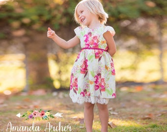 Floral Dress, Girls Dress, Toddler Dress, Spring Dress, Easter Dress, Flower Dress, Cotton Dress, Spring Floral Dress, Girls Easter Dress