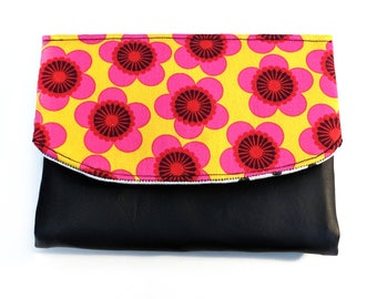 Bold flowers Boon Wallet in pink and yellow and black with vinyl detail, 7 card slots and coin purse