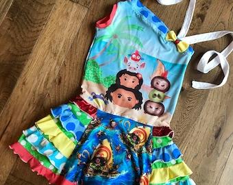 Disney moana ruffle dress ready to ship size 7/8 new sample boutique