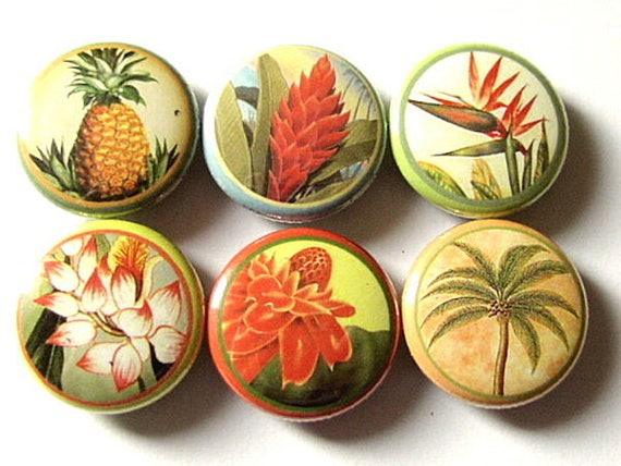 "Hawaiian Flowers 1"" PINBACKS PINS BADGES floral tropical retro kitsch palm tree pineapple hawaii flower party favors shower gifts buttons"