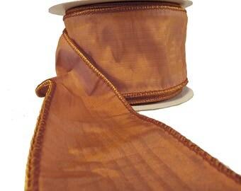 """3 Rolls Of Dusty Peach Tonal Stripe Faux Silk Wired Ribbon  2.5"""" Wide"""