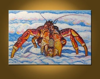 Beautiful Crab -- 24 x 36 inch Original Oil Painting by Elizabeth Graf -- Art Painting, Art & Collectibles