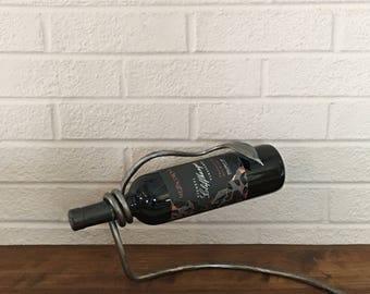 Hand Forged Wine Rack, Artistic Blacksmith Wine Bottle Display, Forged Iron
