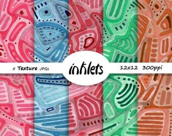 Textured Abstract Pattern Digital Paper Pack, Digital Paper,  5 JPGs, Instant Download, Scrap booking Pattern, PR Bits1
