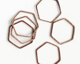 Bulk 100 pcs of Antique  copper double sided  Hexagon connector 16x18mm, bulk copper  linking connector