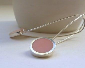 Pink Earrings - Long Pastel Pink Drop Earrings - Round Silver Earrings - Minimalist Jewellery - Gift for Mum - Pop Long Drop Earrings