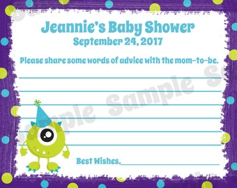 24 Baby Shower Advice Cards - Little Monster Baby Shower - Monster Advice Cards