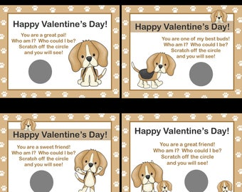 Personalized Valentines Day Scratch Off Cards for Kids    -  Puppy Love