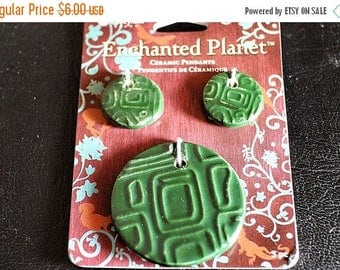 End of Summer CLEARANCE Enchanted Planet, Green Pendant Set