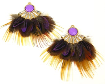 Boho Feather Earring Dangles Brown Purple Feather Cluster Ornate Rhinestone Feather Earring Finding Hippie Jewelry Craft Feather |LG4-1|2