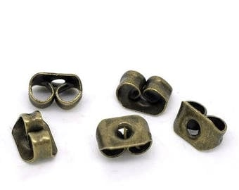40% Retirement Closeout - Earring Backs, Ear Nuts, Earring Stoppers, Antiqued Brass, 5mm, 100 Pieces, EARNUT-100-004
