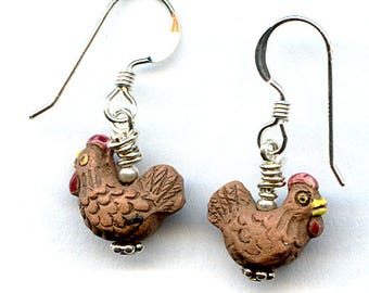 Brown Chicken Sterling Silver Earrings