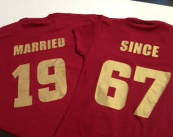 50th Anniversary MARRIED SINCE 1967  Couples T-Shirts Set of 2 Shirts