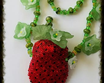 Strawberry Amulet Bag, Vessel, Necklace
