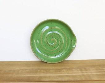 Spoon Rest Stoneware Ceramic in Bright Spring Green Glaze