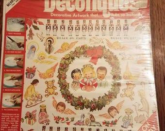 Vintage Christmas Rub-On Decotiques