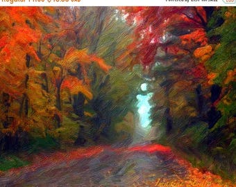 HUGE SUMMER SALE 40% off Autumn Leaves,  Fall Landscape, Nature Photograph, Fine Art , Painted Photograph, Seasonal Photography, Giclee Prin