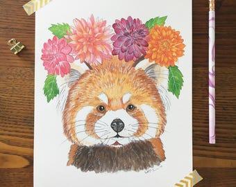 Red Panda Art. Watercolor Red Panda. Red Panda Painting. Boho Nursery. Animal Nursery Art. 8 x 10 Print. Flower Crowns. Children's Decor.
