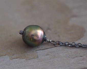 Dark Green Tahitian Pearl Necklace - Oxidized Sterling Silver Necklace - Black Tourmaline Necklace - Black Pearl Teardrop Necklace
