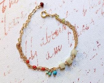 Amazonite Bracelet - Red Coral Bracelet - Blue Turquoise Bracelet - 14kt Gold Bracelet - Mixed Stone Bracelet - Colorful Gemstone Bracelet