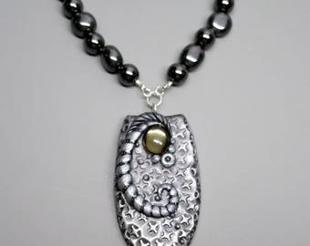 HALF OFF SALE Unique Pendant Necklace, Polymer Clay with Vintage Smokey Mirrored Cabochon, Hematite Nugget Beads