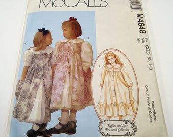McCall's Children's And Girls' Dress And Pinafore Pattern M4648 Size 2, 3, 4, 5