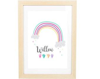 Girl's Rainbow Personalised Wall Print