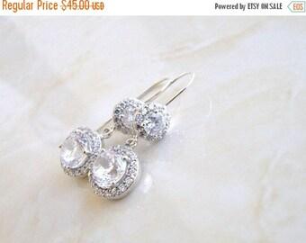 Summer Sale Bridal Earrings Halo CZ Dangle Hook  CNER1